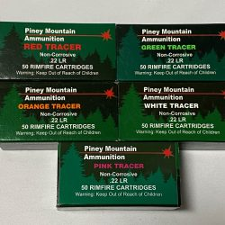Piney Mountain 22LR Tracer Ammunition – 5 Colors (Red, Green, Orange, Pink and White)