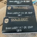 50 Round Box – 9mm Speer Gold Dot 124 124+P 147 grain LE Hollow Point Ammo NO LIMIT