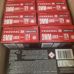 Federal American Eagle 124gr 9mm Brass Ammo – 50 Round Box