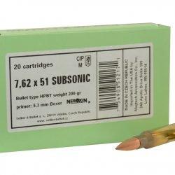 Sellier & Bellot Ammunition 308 Winchester Subsonic 200 Grain FMJ Box of 20