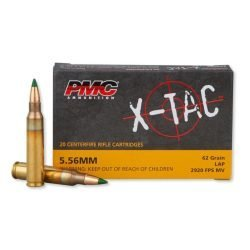PMC Ammo X-TAC 5.56 NATO 62gr M855 SS109 Penetrator FMJ Green Tip – Box Of 20