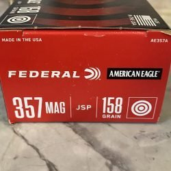 Federal American Eagle 357 Mag 158 gr Jacketed Soft Point Ammo – 50 Rounds