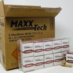 Maxxtech 5.56x45mm NATO M193 Brass Ammunition PTGB556 55 Grain Full Metal Jacket