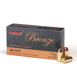 PMC Bronze .380 ACP Ammunition 90 Grain FMJ – 50 Rounds 380