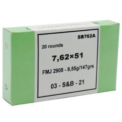 Sellier & Bellot Tactical 7.62×51 Ammo 147 Grain FMJ **FREE SHIPPING FOR CASES**