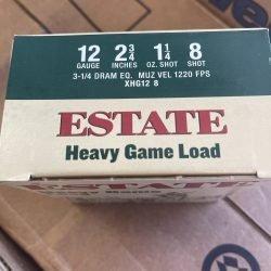 """Estate 12 Gauge Heavy Game Load 2 3/4"""" 1 1/4 Oz 8 Shot 12ga"""