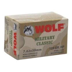 Wolf Military Classic 7.62x39mm Ammo 124 Grain JHP Steel Case – 20 Round Box